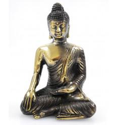 Statuette Bouddha zen en bronze Bhumisparsa Mudra. Déco import Asie.
