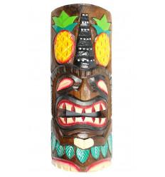Masque Tiki h30cm en bois motif Ananas. Déco murale Tiki Bar.