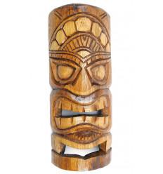 Maschera Tiki h30cm in legno, motivo floreale. Decorazione Tahiti