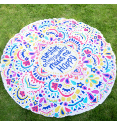 Drap de plage rond multicolore, foulard, tenture murale pas cher.