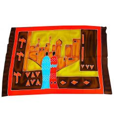 Arazzi batik africani, decorazione tessile multicolore.