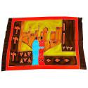 Tenture murale africaine batik, textile décoration multicolore.
