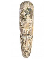 Maschera parete in legno sbiancato modello elefante, deco africa moderna.