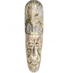 African mask modern wooden white pattern giraffe black and gold.