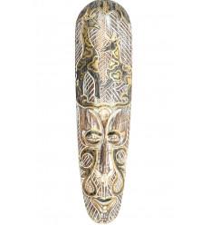 Masque Africain 50cm en bois blanchi, motif girafe noir et or.