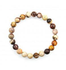 Bracelet pierre en jaspe zébré australien. Pierre fine naturelle.