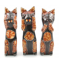Les 3 chats de la sagesse. Statuette chat originale collectionneur.