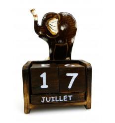 Calendario perpetuo 2 statuette in legno elefante - Artigianali di Bali
