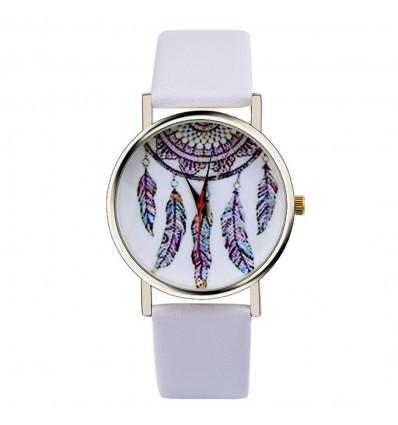 """Montre fantaisie femme """"Bohème"""" motif Attrape Reves - bracelet blanc"""