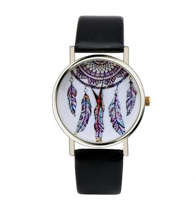 "Watch fantasy wife ""Bohemian"" pattern Catches Dreams - black strap"