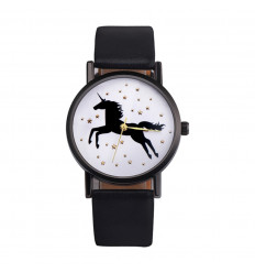 Watch woman pattern unicorn, black strap. Delivery France Free !