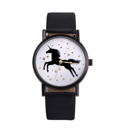 Orologio da donna modello unicorn, il cinturino nero. Consegna Francia Libera !