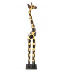 Statua Giraffa in piedi H100cm legno, arredamento africano.