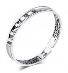 """Bracelet Tibétain gravé """"Om Mani Padme Hum"""" en cuivre blanc."""
