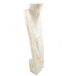 "Display speciale lunghe collane H60cm busto in legno finitura ""bianco cérusé"""