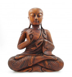 Statue monk buddhist shaolin wooden sculpture craft Asia.