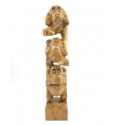 Les 3 singes de la sagesse, statue sculpture décoration bois achat.