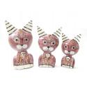 Statuettes chats en bois, décoration bibelot chambre fille rose.