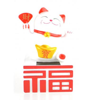 Maneki Neko solaire, chat porte-bonheur blanc qui bouge la patte.