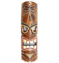Masque Tiki h50cm en bois motif Cocotier. Décoration Tahiti Hawaï.