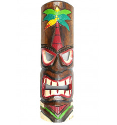 Tiki mask h50cm colorful wooden ground Coconut. Decoration Tiki.