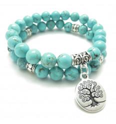 Bracelet pierre naturelle howlite turquoise ancrage, arbre de vie.