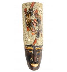 Maschera africana in legno 30cm arredamento Tartaruga in sabbia e conchiglie Cowries