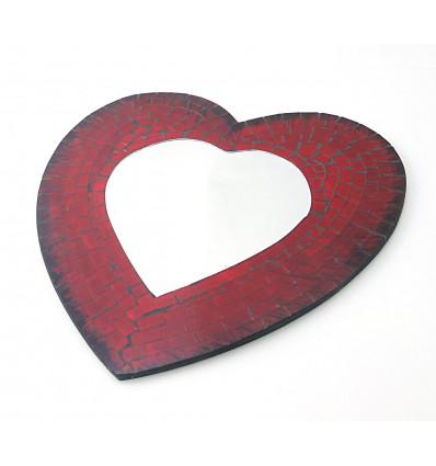 Miroir mural coeur rouge en mosaïque de verre, cadeau saint valentin.