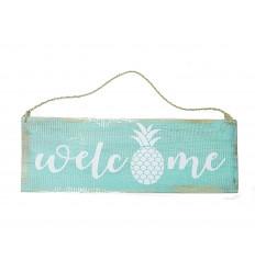 Plaque de porte welcome en bois turquoise, décoration ananas fille.