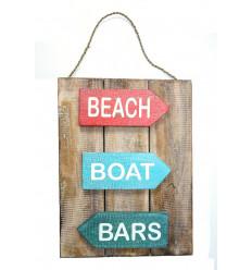Panneau, déco murale, plaque de porte en bois style plage océan mer.