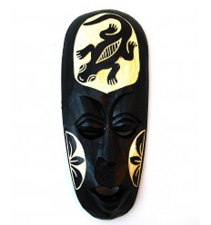 Small african mask black wood pattern salamander 20cm