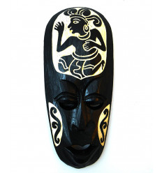 Small african mask black wood pattern character 20cm