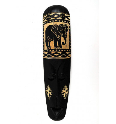 Masque africain noir motif éléphant. Achat décoration africaine chic.