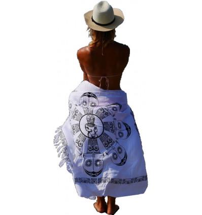 Paréo blanc, robe ou jupe de plage. Achat vêtement de plage tendance.