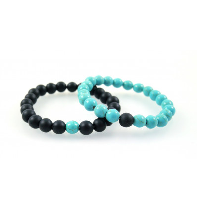 Bracelets of distance / couples - black Agate and Howlite turquoise - free Delivery !!!