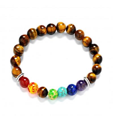 Bracelet 7 chakra tiger Eye
