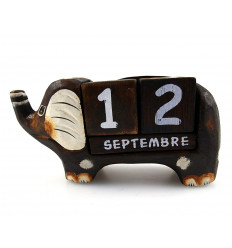 Perpetual calendar wooden elephant. Decorative and practical !