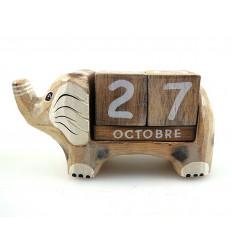 Calendrier perpétuel éléphant cubes en bois, décoratif et pratique.