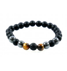 Bracelet mixed multipierres : black Agate, Hematite, Eye of the Tiger and Lava Stone