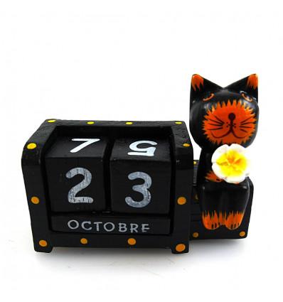 Calendrier perpétuel en bois chat et fleur, achat cadeau déco enfant.