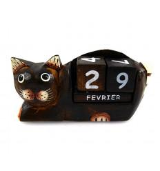 Calendario perpetuo gatto in legno. Idea regalo insegnante di scuola padrona.