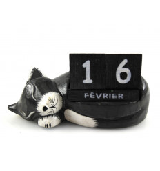 Perpetual calendar Cat asleep in the wood. Gift idea teacher.