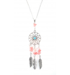 Collier Bohème avec pendentif attrape-rêves + perles en Opale. Livraison Gratuite !