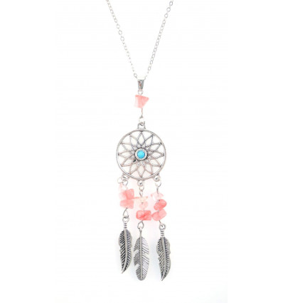 Necklace Bohemian with pendant giant dream catcher + bead in Opal. Free Shipping !