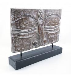 "Decorative ""Buddha"" wood. Artisanal Sculpture Zen style."