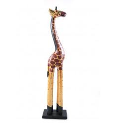 Statue Girafe H60cm en bois, déco ambiance savane africaine.