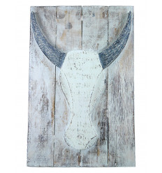 "Painting ""Skull of a Buffalo"" in driftwood. Wall decoration bohemian chic."