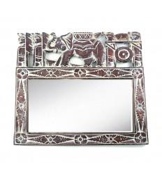 Specchio da parete etnico 50x43cm modello in legno elefante. Balinese Arredamento.