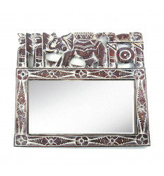 Wall mirror ethnic 50x43cm wood pattern elephant. Balinese Decor.
