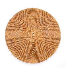 Set of round table Bali cane. Table decoration ethnic chic.